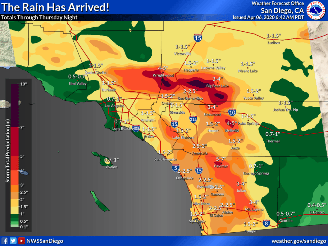 Southern California Rain Totals April 6 2020