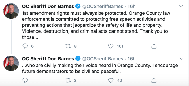 OC Sheriff Barnes Suports Peaceful Protests May 30 2020