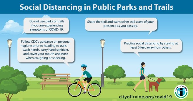 Social Distancing in Pubic Parks and Trails Irvine PSA