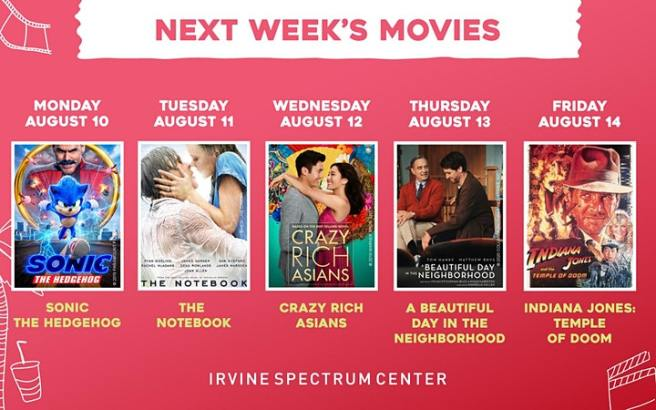 Irvine Spectrum Drive In Movies August 10 2020 thru August 14 2020