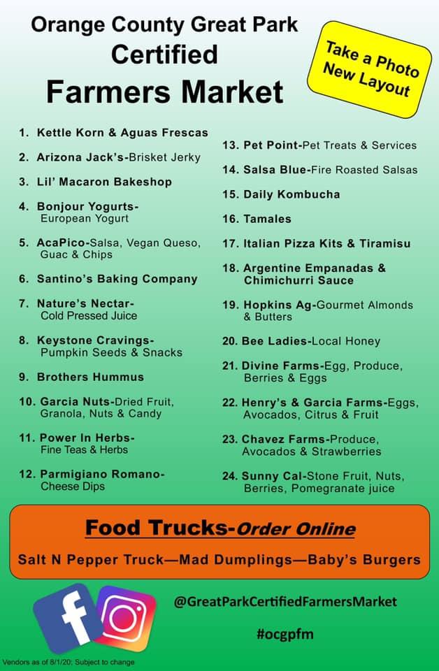Orange County Great Park Farmers Market Sunday August 9 2020 Vendor List
