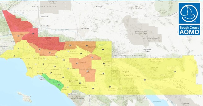 South Coast AQMD Air Quality Map For Wednesday September 23 2020