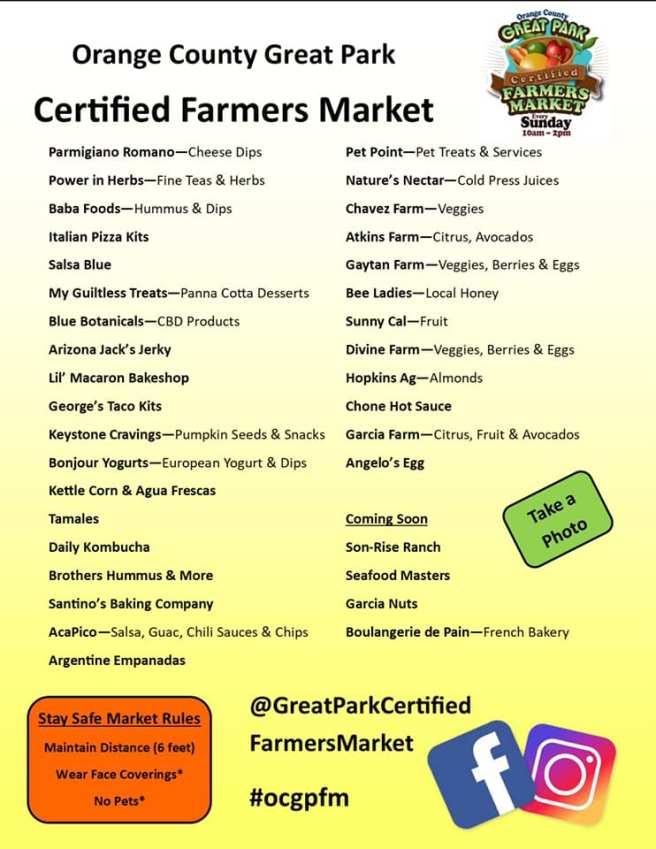 Orange County Great Park Farmers Market Vendors List Sunday September 13 2020