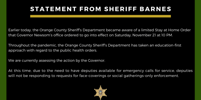 Orange County California Sheriff's Department OC Sheriff Don Barnes Statement on California Limited State at Home Order Facebook Post November 19 2020