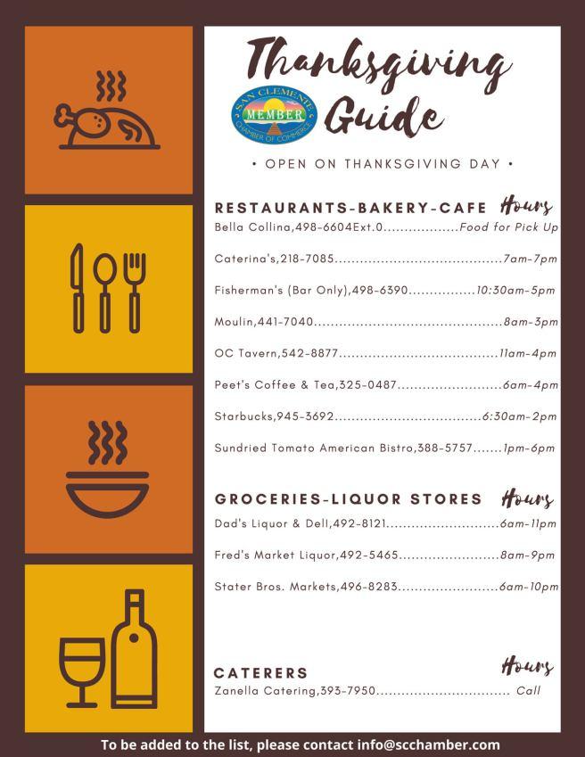 San Clemente Thanksgiving Day Guide Thursday November 26 2020