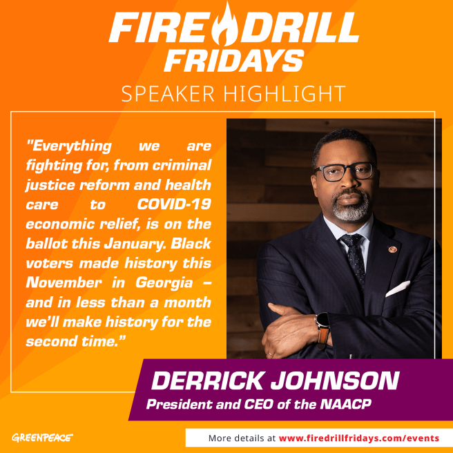 Greenpeace Jane Fonda Fire Drill Fridays Features NAACP President Derrick Johnson December 11 2020