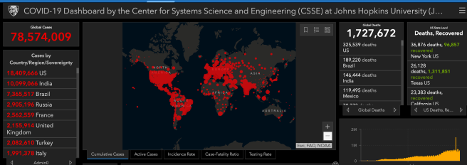 COVID 19 Status World Report Updated on December 22 2020 Courtesy of John Hopkins University