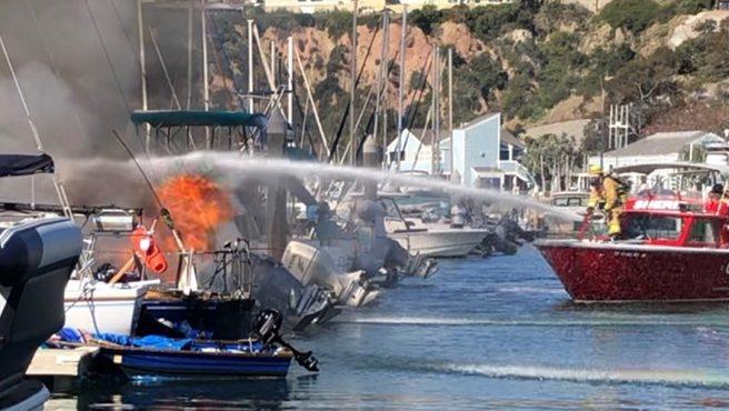 Dana Point Harbor Boats Fire Thursday February 18 2021 Courtesy of Orange County Sheriff's Department