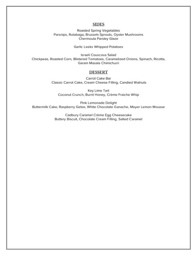 Ritz Carlton Dana Point Easter Brunch 2021 Menu Page 2