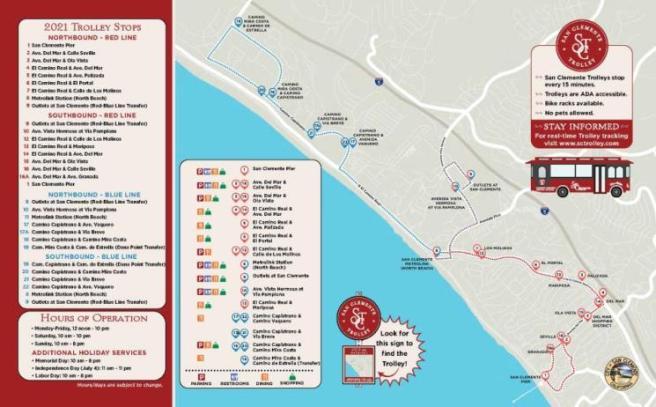 San Clemente California Trolley Map Summer 2021
