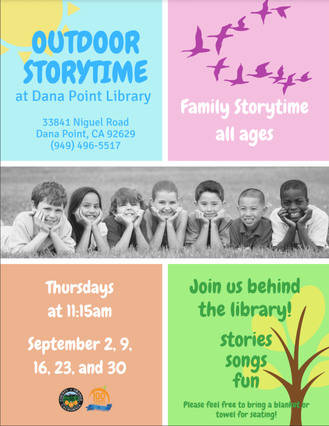 Dana Point Library Outdoor Story Time September 2021