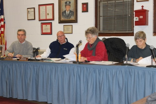 Ellen Neff, second from right, chaired last night's village ZBA meeting in the absence of chairman Doug Corwin. Photo: Denise Civiletti