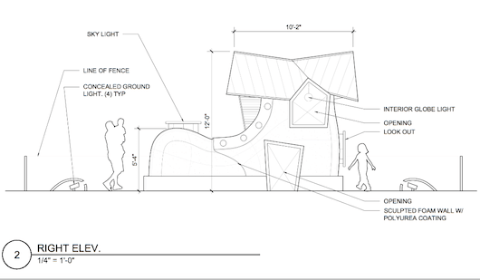 A draft of the design for the Mother Goose shoe, which will cost around $30,000 to construct. Courtesy photo.