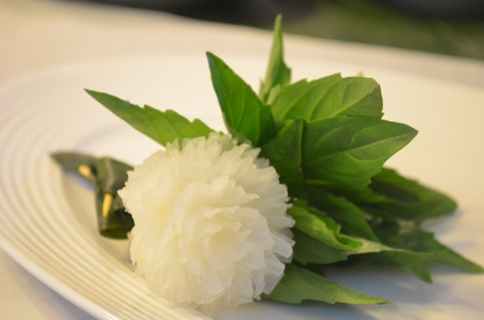 Turnip carving & sweet basil