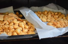 two trays of golden shells