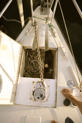 Using the windlass to bring aboard the new chain