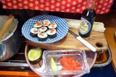 Fresh caught coho salmon with avocado sushi,My dream came true.