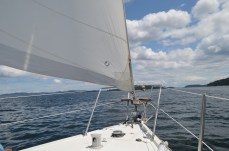 What 10 knots of wind off the nose can do to your moral. Yes the boat still can sail.