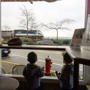 Train Spotting from Whitby's Coffee House is one of the best indoor activities for kids in South Surrey White Rock