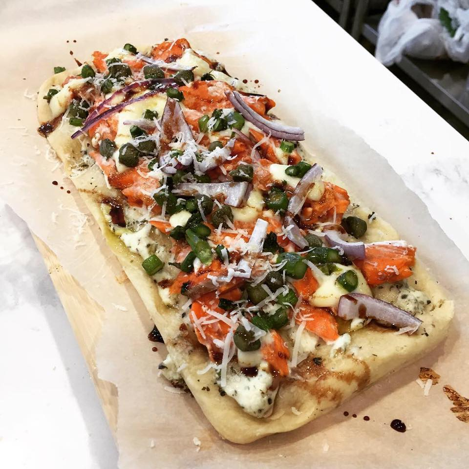 Watts on East Beach Cafe special Roasted Salmon Flatbread