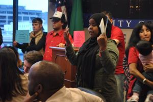 Nimco Abdirahman addressing City Council. Photo Credit: Celia Berk