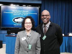 The photo is of Mariko Lockhart, Director of the Seattle Youth Violence Prevention Initiative and Gregory Davis at the My Brother's Keeper Community Challenge National Convening at the White House in Washington, D.C., February 12 – 13, 2015