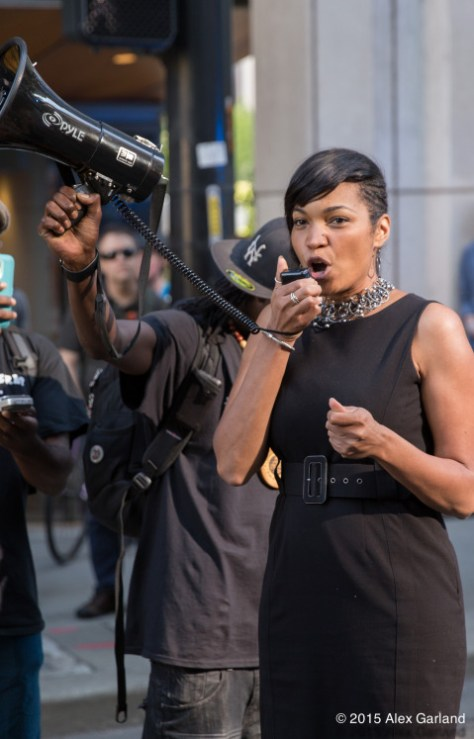 Sheley Secrest during an impassioned speech at the march's starting point.