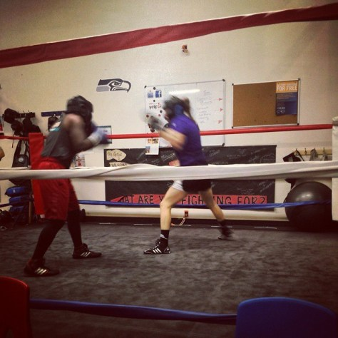 Laura in the ring during a training session for her boxing match.