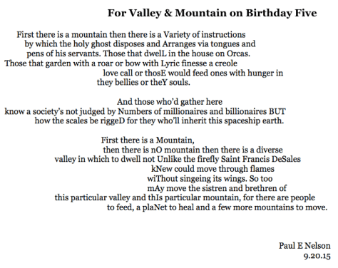 For Valley & Mountain on Birthday Five