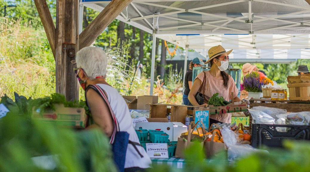 Masked individuals pick out produce and other farmed goods at Tilth Alliance's farm stand.