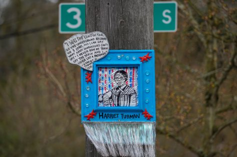 The piece featuring Harriet Tubman by artist thatswhatshesaid206 is located  at the intersection of S. Edmunds Street and 35th Avenue South, a block west of PCC on Edmunds.