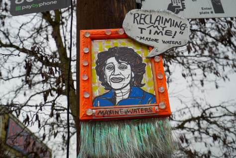 Congress Woman Maxine Waters' portrait is located next to Bike Works in Columbia City.