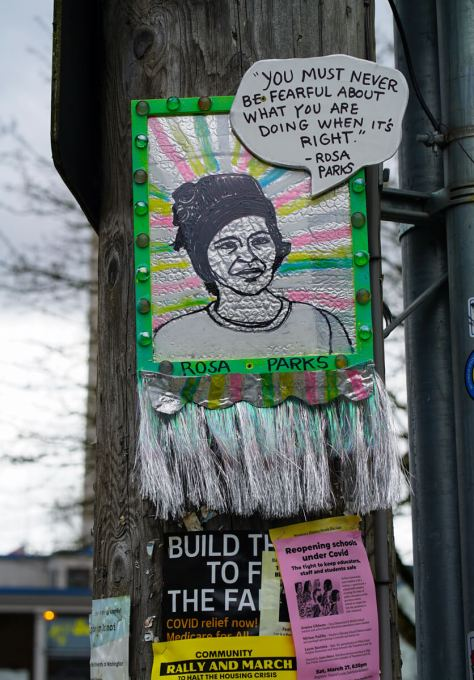 The piece featuring Rosa Parks by artist thatswhatshesaid206 is located right by the entrance to PCC on South Edmunds Street.