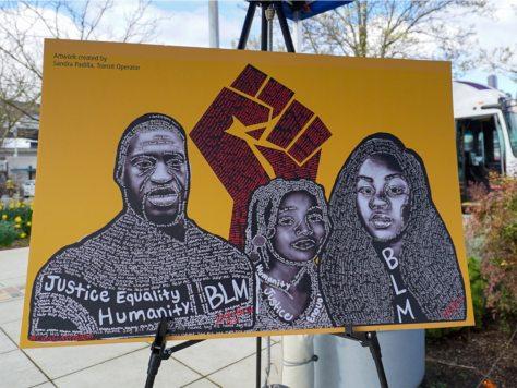 Sandra Padilla's Black Lives Matter artwork depicting George Floyd, Breonna Taylor, and Aiyana Jones