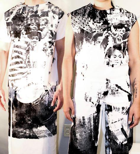 Deux personnes portent l'œuvre de Diego Binuya: une image sérigraphiée de la Révolution du pouvoir populaire de 1986 aux Philippines sur les deux vêtements à porter ensemble.