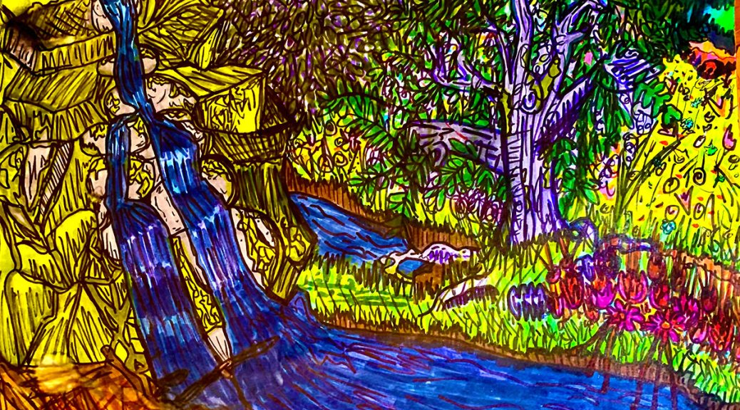 Colorful image depicting a waterfall with two rivulets running down green walks into a blue river with a large tree and pink-colored flowers on the embankment.
