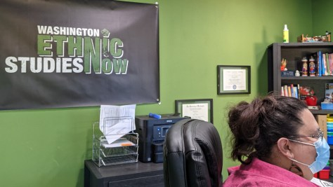 "Photo of Tracy Castro-Gill sitting in front of a banner black banner with green and white text that reads ""Washington Ethnic Studies Now."""