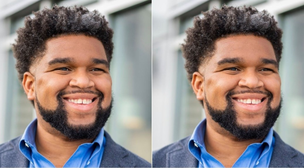 Two portrait photos of Brandon Hersey.