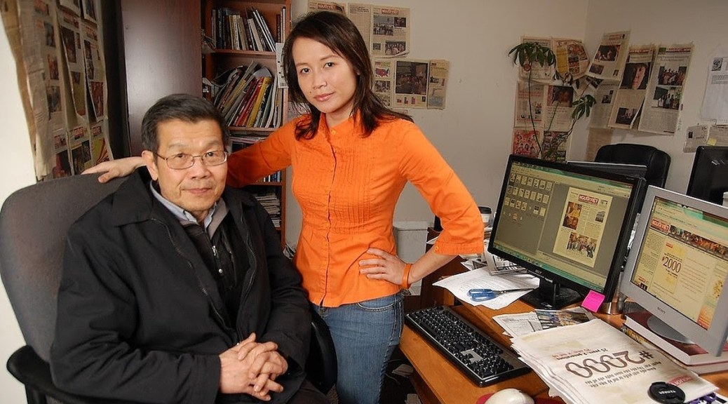 Featured Image: Kim Pham and Julie Pham working at Northwest Vietnamese News office in 2010. Photo by Don Pham