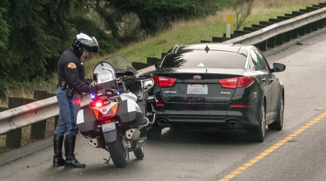 Washington State Patrol pulls over a car on I-5.