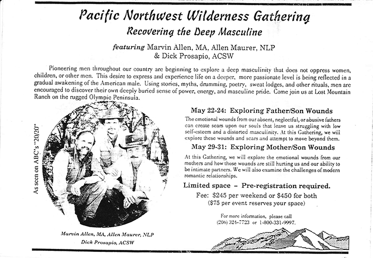 "An old flyer advertising the ""Pacific Northwest Wilderness Gathering: Recovering the Deep Masculine."""