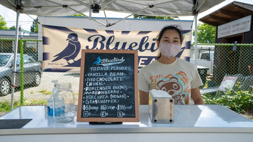 Bluebird Ice Cream offering the its signature tasty cold desserts for market-goers on opening day for the 2021 season at the Columbia City Farmers Market.