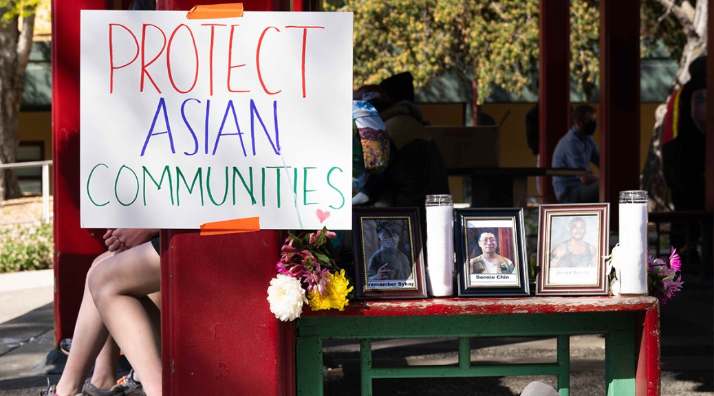 "Photo of a memorial to Donnie Chin with a sign that reads ""Protect Asian Communities."""