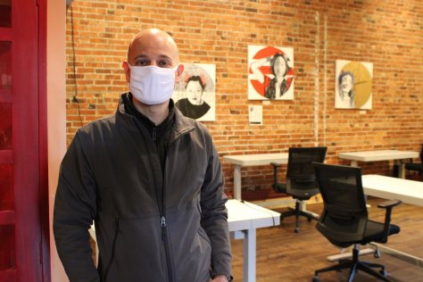 Photo of Philip Locker inside the Hillman City Collaboratory incubator space.
