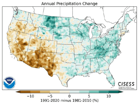 Map depicting annual precipitation change across the U.S. between 1991 and 2020, minus 1981 to 2010, with bluer areas representing higher percent of precipitation.