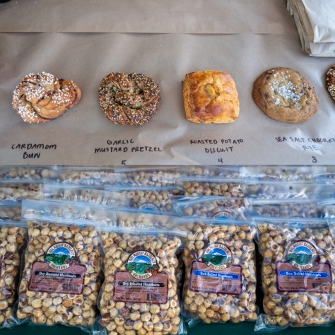 A display of baked goods and hazelnuts offered by Holmquist Hazelnut Orchards.
