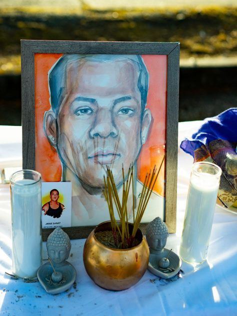 Altar prepared for Jesse Sarey at a vigil on May 31, 2021, to commemorate his life and mark two years since his death.