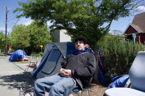 Photo of Dcon in Ballard Commons encampment.