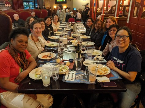 Parents from the Green Lake and Rising Star Elementary Schools in Seattle meet for a spaghetti dinner in late 2019. The parent associations formed a new partnership that year to co-sponsor school events and share parent donations between the schools.