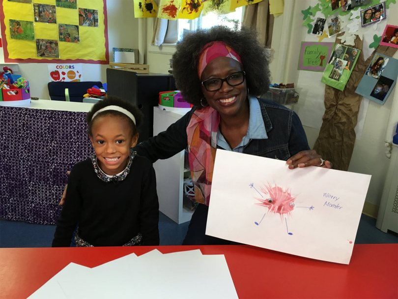 """Trinity and Ms. Cheryl paint """"worry monsters"""" to blow away their worries"""